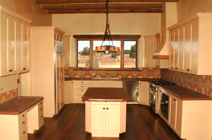 Southwest style new stone home in new mexico quality for Santa fe kitchen